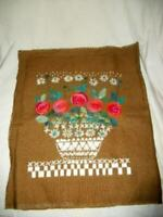 VINTAGE LINEN EMBROIDERED PILLOW TOP BACK RETRO FLOWER POWER SWEDEN MID CENTURY