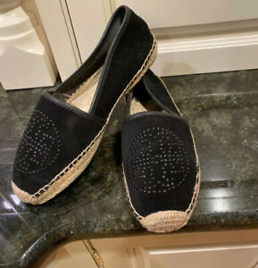 Tory Burch Kirby Black Suede Espadrilles, Size 8