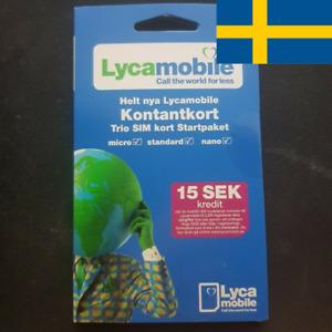 1 Swedish Lycamobile sim card. Prepaid sim card. Nano, micro or standard size