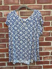 LUCKY BRAND Linen Slouchy Blue White Geometric Aztec Knit Top Blouse L Large*