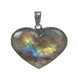 Labradorite energy protection healing crystal chakra LOVE heart pendant bead