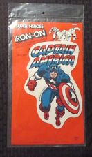 """1980 Super Heroes Iron-On Patch CAPTAIN AMERICA 8"""" NM On Original Card"""