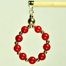 14k solid yellow gold natural 20mm circle Red Coral gorgeous pendant 2.8 tcw