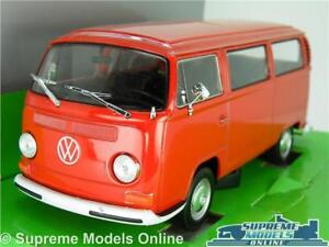 VW VOLKSWAGEN T2 CAMPER VAN BUS MODEL CAR 1:24 SCALE RED BAY WIND WELLY LARGE K8