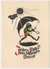Schattenbild Frosch mit Schirm unter Sonne, AK um 1958