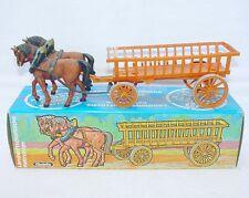 "Elastolin Hausser 1:32 WILD WEST & FARM ""OPEN"" WAGON + HORSES Figure Set MIB`76!"