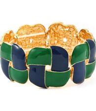 Enamel Color Stretch Metal Rectangular Shape Bracelet  Navy/Green