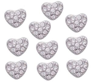 10pc Lot Floating Charm For Lockets Puffy Heart With CZ Crystals Silver Tone