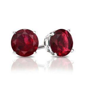 1 ct. Garnet Round Basket Stud Earrings - Sterling Silver - January Birthstone