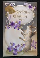 ~Bunny Rabbits with Egg & Flowers~Antique Airbrushed Easter Postcard-s-34