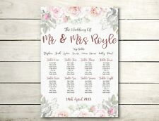 A2 Vintage colour floral Wedding table seating plan (A3 also available)