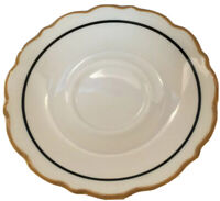Syracuse China Dorado Saucers Restaurantware Ivory Black Mustard Scalloped Set 9