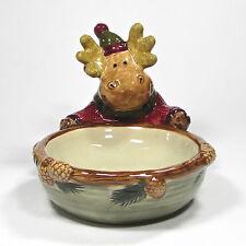 "St. Nicholas Square HEARTLAND 16oz Round Candy Dish Snack 6.75"" Bowl Moose"