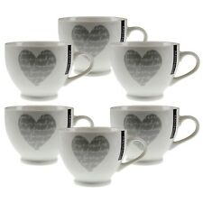 New Bone China Mugs Set of 6 Heart Design Tea Coffee Mug Hot Drinks Kitchen Cups