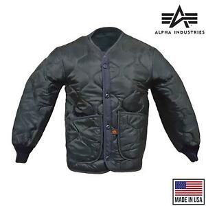 Alpha Industries Quilted Light Jacket ALS 92 Army M65 Field Coat Liner Navy Blue