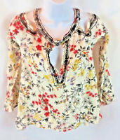 BKE Boutique Women's Blouse Top Off Shoulder Bell Sleeve Floral Size Small