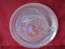 ARTISTIC ACCENTS PEARL WHITE OPAL IRIDESCENT GLASS SALAD PLATES SET OF 2 NEW