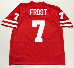 Vintage Scott Frost #7 Football Jerseys White Red All Stitched Custom Any Name