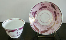 19c. Antique English Staffordshire PAINTED Pink Luster Tea Cup & Saucer HANDLESS