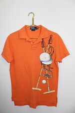 Polo Ralph Lauren~RARE~Men's Size S~Orange~Polo Sticks~Helmet~Ball~Stirrup~EUC~~