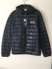 EMPORIO ARMANI NWT Men's Duck Down Puffer Jacket Coat Hood Night Blue Size L