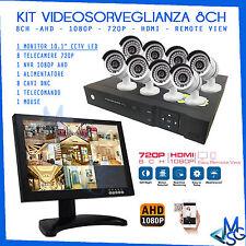 """KIT VIDEOSORVEGLIANZA COMPLETO MONITOR 10"""" DVR 8 CANALI AHD 8 TELECAMERE 720P HD"""