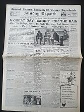 Post WW2 Newspaper June 9 1946 Victory Parade Photos Churchill Sunday Dispatch