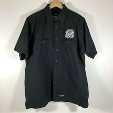 Harley Davidson Short Sleeve Work Shirt Black Bumpus HD Patch Mens Large L