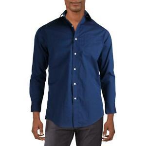 Lauren Ralph Lauren Mens Navy Slim Fit Dress Shirt 17.5 32/33 BHFO 7872