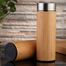 Bamboo Tea Infuser Tumbler Water Thermoses Vacuum Insulated Bottle Double Wall