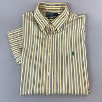 Polo Ralph Lauren Mens Shirt Short Sleeve Custom Fit Striped Cotton Size L