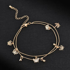 Women's Gold Chain Butterfly Crystal Anklet Bracelet Sandal Beach Foot Jewelry