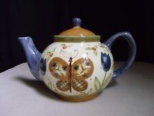 2000 Lang & Wise Simple Life Teapot Earthenware Butterflies Flowers Karen Crouch