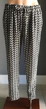NWOT  DOTTI Black/Taupe/White/Cream Geo Print Relaxed Fit Pants Size 10