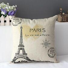 Hot Retro cotton linen pillow cover cushion car cushions Household Eiffel Tower