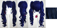23'' Curly Pig Tails + Base Midnight Blue Cosplay Wig NEW