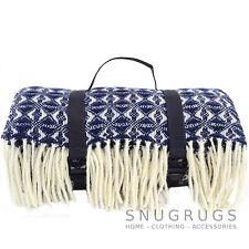 XL Waterproof 100% Wool Picnic Blanket / Travel  /Camping /Beach Mat - Navy Blue