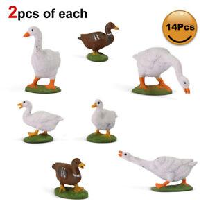 14pcs Model Train Painted 1:43 Scale PVC Duck Goose O Scale Farm Animals AN4305