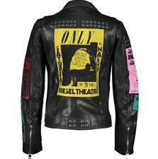 £895 DIESEL Black Leather Studded Biker Jacket