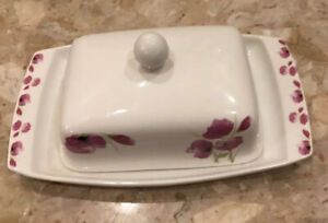 Ciroa Pink Floral Porcelain Double Covered Butter Dish with Lid 8x5.5""