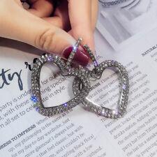 Fashion Luxury Heart Earrings Women Crystal Geometric Hoop Earrings Jewelry Gift