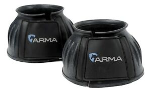 One Pair Shires Arma Rubber Bell Over Reach Horse Pony Boots Touch Close  BLACK