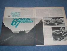 "1967 Plymouth Barracuda Vintage Road Test Info Article 'Superfish"" Cuda 383"