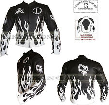 FLAME SKELET BLACK & WHITE CE ARMOUR MENS MOTORBIKE / MOTORCYCLE LEATHER JACKET