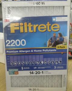 3M Filtrete 2200 Premium Allergen and Home Pollutants (14 x 20 x 1) 3 Pack