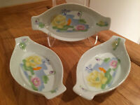 Seymour Mann Inc. Water Lily Au gratin Ceramic Baking Dishes Signed Set of 3 VTG