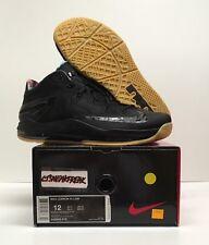 2014 Nike Air Max Lebron XI 11 Size 12 Low Black Gum Blackout Retro 642849-078