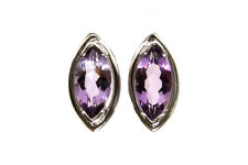 9ct White Gold marquise Amethyst Stud earrings Gift Boxed Studs Made in UK