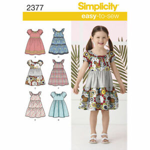 Simplicity Sewing Pattern 2377 Girls 3-8 Easy Peasant Style Dresses 6 styles