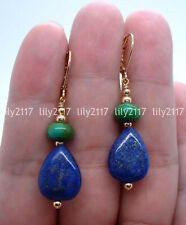 Natural Blue Lapis Lazuli & Green Turquoise Gems Gold Leverback Dangle Earrings